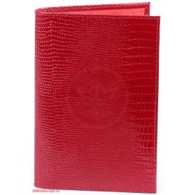 """Обложка для паспорта натуральная кожа """"Ящерица"""". O.1.KK.красный 101048"""