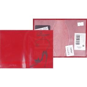 Обложка для паспорта из нат/кожи «Изящная кошка».O.31.SH.красный. 95х 135 мм. 101114