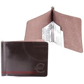 Зажим для купюр н/к-Z.7-.1.brown,  тисн Евро,  откидная фурнитура  101167