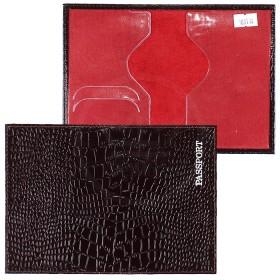 Обложка для паспорта н/к, крок; корич; тисн-PASSPORT 103774