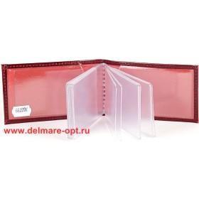 Визитница горизонтальная  (вкл 18 л)  н/к,  гладкий бордо;  тисн Cards 103799