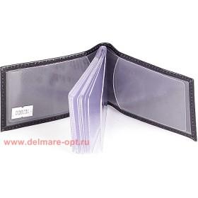 Визитница горизонтальная  (вкл 18 л)  н/к,  гладкий черн;  тисн-CARDS 103800