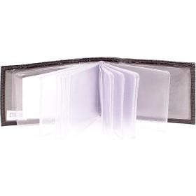 Визитница горизонтальная  (вкл 18 л)  н/к,  крок черный;  тисн Cards 103802