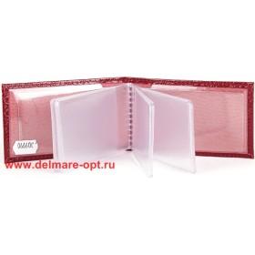Визитница горизонтальная  (вкл 18 л)  н/к,  крок бордо;  тисн-CARDS 109990