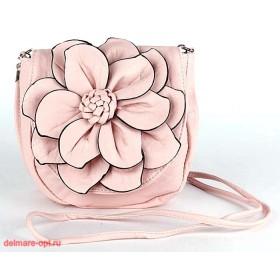 Сумка женская искусственная кожа 1037  (цветок),  1 отд,  плеч/ремень,  пастель розовая 112595
