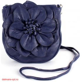 Сумка женская искусственная кожа 1037  (цветок),  1 отд,  плеч/ремень,  синий 112597