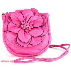 Сумка женская искусственная кожа 1037  (цветок),  1 отд,  плеч/ремень,  розовый фуксия 112600