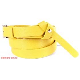 Ремень женский искусственная кожа 126,  шлевка-петелька,  желтый,  шир 2см 112644