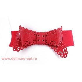 Ремень-резинка 137,  ажурный бант,  красный,  шир 6см 112654