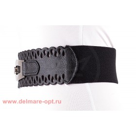Ремень-резинка 148,  ажур,  черный,  шир 6см 112657