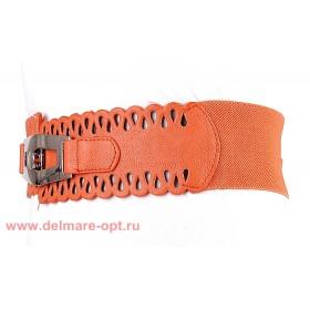 Ремень-резинка 148,  ажур,  оранжевый,  шир 6см 112661