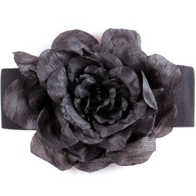 Ремень-резинка 18307;  шир 7, 5 см;  застежка-крючки;  шелковая роза,  черный 112665