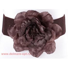 Ремень-резинка 18307;  шир 7, 5 см;  застежка-крючки;  шелковая роза,  коричневый 112666