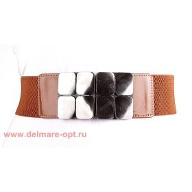 Ремень-резинка 2101,  крупный декор,  camel - коричневый,  шир 6см 112712
