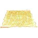 Платок шейный 60*60см,    полиэстер 60%,    шелк 40%,    шифон,    косой крой,    рис гладь,    желтый