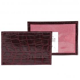 Обложка пропуск/карточка/проездной Premier-V-41 натуральная кожа бордо крокодил (98)  114742