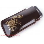 Футляр для мобильного телефона F-4-03 Цветы коричневый глад/золото   (88)