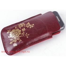 Футляр для мобильного телефона F-4-03 Цветы бордо аметист/золото   (117)