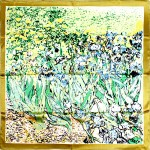 Платок головной 85*85см,    полиэстер 60%,    шелк 40%,    плетение атлас,    рис цветочный ветер,    зеленый