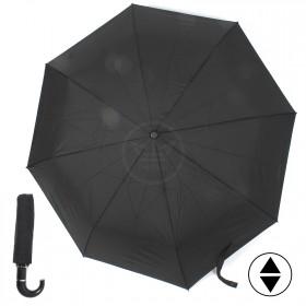 Зонт муж ТриСлона-550,  R=55см,  3слож,  суперавт,  8спиц,  ручка-крюк,  полиэстер,  черный 126083