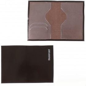 Обложка для паспорта н/к, глад; коричневый; тисн-PASSPORT 127266