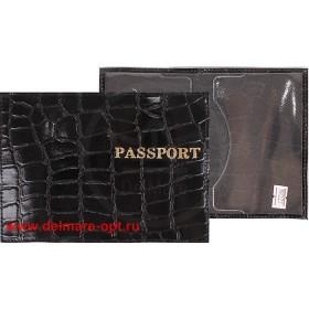 Обложка для паспорта н/к, крок; черный крупный (киров);  тисн PASSPORT 127284