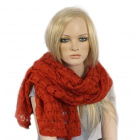 Палантин 70*190см,    акрил 100%,    плетение ажур,    цвет-05,    оранжевый SALE