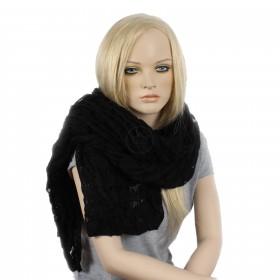 Палантин 70*190см,    акрил 100%,    плетение ажур,    цвет-05,    черный SALE