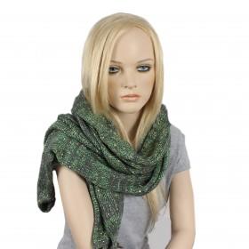 Шарф 45*190см,    акрил 100% с люрексом,    цвет-07,    серый+зеленый SALE
