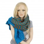 Шарф 60*190см,    акрил 100% 3 цвета,    цвет-08,    оранж+голуб+зелен SALE
