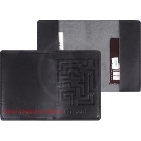 """Обложка для паспорта натуральная кожа """"Лабиринт"""" O.45.SP.черный 130345"""