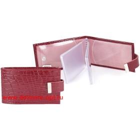 Визитница горизонтальная  (вкл 18 л)  с хлястиком,  н/к,  крок;  бордо;  тисн Cards 134664