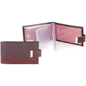 Визитница горизонтальная  (вкл 18 л)  с хлястиком,  н/к,  крок;  корич;  тисн Cards 134665