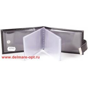 Визитница горизонтальная  (вкл 18 л)  с хлястиком,  н/к,  глад;  черный;  тисн Cards 134675