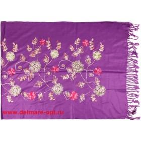Палантин 68*168 вискоза 100%,    вышивка-03,    пайетки,    фиолетовый