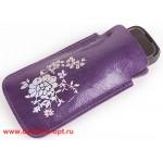 Футляр для мобильного телефона F-4-03 Цветы  фиолет луна   (131)   /серебро