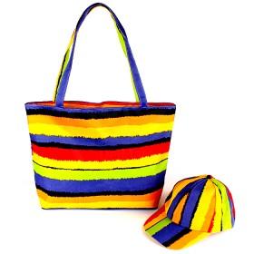 Комплект 117 (сумка пляжная+бейсболка)  текстиль 2905-4wsw-0066,  1отд,  радуга 136700