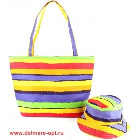 Комплект 118   (сумка пляжная+панама)    текстиль 067-4wsw-0066,    1отд,    радуга