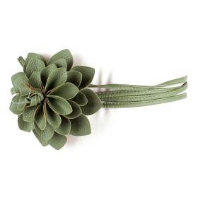 Ремень женский искуственная кожа 413-020;    шир 1см,    диам цветка 10см    (георгин) ,    зеленый мятный