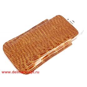 Футляр для мобильного телефона F-4,    коричневый крокодил карамель   (111)