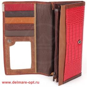 Кошелек женский натуральная кожа Temanli-726-UD 6B-1213,   (вставка иск/к),  защелка внутри,  7отд+10карм,  красный 146340