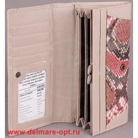 Кошелек женский натуральная кожа Temanli-4131-UD 01В-1448 (вставка иск/к),  защелка внутри,  7отд+10карм,  беж+роз 146341