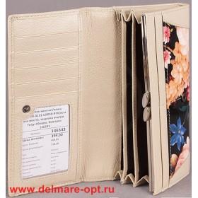 Кошелек женский натуральная кожа Temanli-4131-UD 01В-976 (вставка иск/к),  защелка внутри,  7отд+10карм,  беж+роз 146343