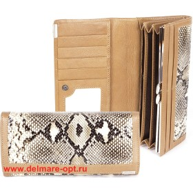 Кошелек женский натуральная кожа Temanli-4131-UD 6В-845,   (вставка иск/к),  защелка внутри,  7отд+10карм,  бежевый 146345