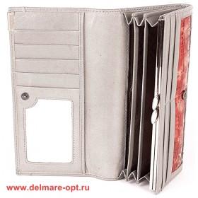 Кошелек женский натуральная кожа Temanli-4131-UD 6В-1328,   (вставка иск/к),  защелка внутри,  7отд+10карм,  сер+красн 146348