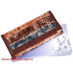 Кошелек женский натуральная кожа Temanli-4131-UD 6В-1333,   (вставка иск/к),  защелка внутри,  7отд+10карм,  корич+оранж 146349