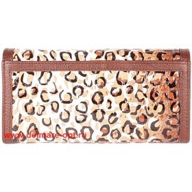 Кошелек женский натуральная кожа Temanli-4131-UD 6В-1317,   (вставка иск/к),  защелка внутри,  7отд+10карм,  коричневый 146351