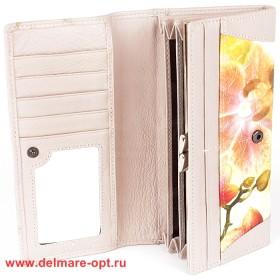 Кошелек женский натуральная кожа Temanli-4131-UD 01B-1434,   (вставка-иск/к),  защелка внутри,  7отд+10карм,  беж+желт 146354
