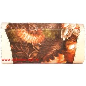 Кошелек женский натуральная кожа Temanli-4131-UD 01B-1000,   (вставка-иск/к),  защелка внутри,  7отд+10карм,  беж+оранж 146356