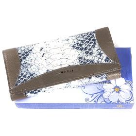 Кошелек женский натуральная кожа Temanli-4131-UD 01B-1216,   (вставка-иск/к),  защелка внутри,  7отд+10карм, сер+гол 146357